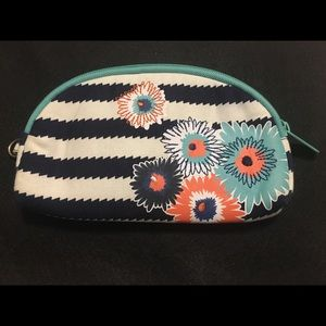 Thirty-One Striped Floral Print Padded Makeup Bag